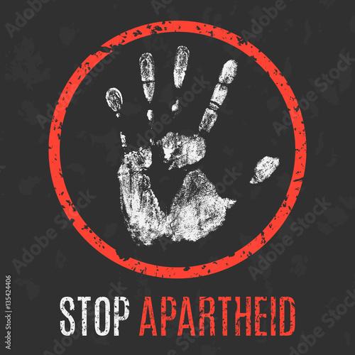 Photo Vector illustration. Social problems. Stop apartheid.