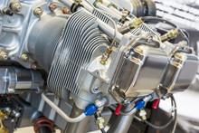 Piece Of Equipment Of The Aircraft Engine Closeup
