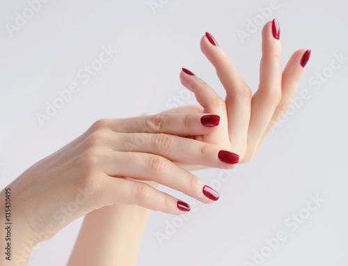 Fotografie, Obraz Closeup of hands of a young woman with dark red manicure on nails against white