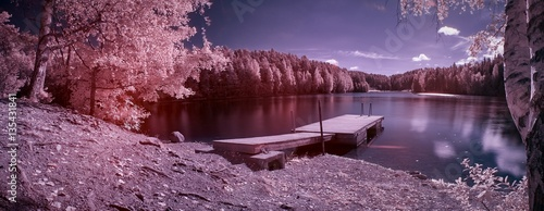 Foto  Fantasy landscape panorama taken with infrared filter