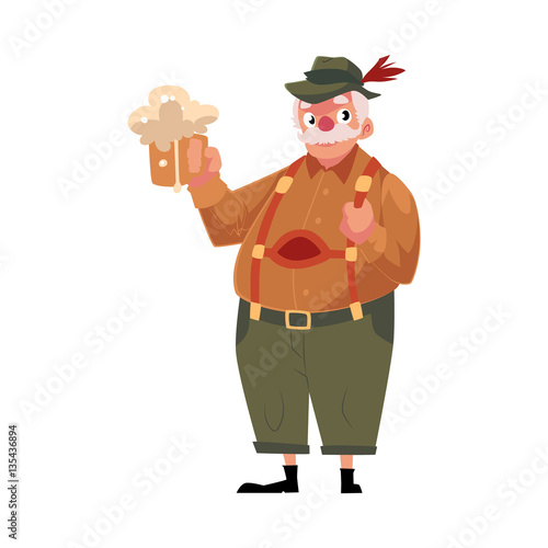 Photo Stands Indians Elder grey haired man in traditional German, Bavarian Oktoberfest costume holding beer mug, cartoon vector illustration isolated on white background. German, Bavarian man in traditional costume