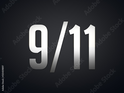 September 11th Patriot Day metallic text on black background Poster