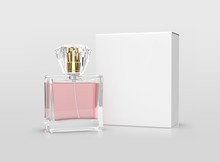 Mock Up Perfume Bottle With Pink Water And White Box On White Background