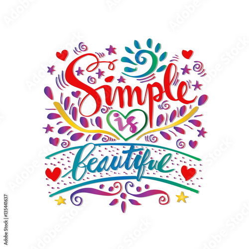 simple is beautiful lettering Wallpaper Mural