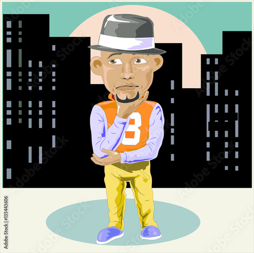 Fotografie, Obraz  blackman casual holding chin like steve jobs