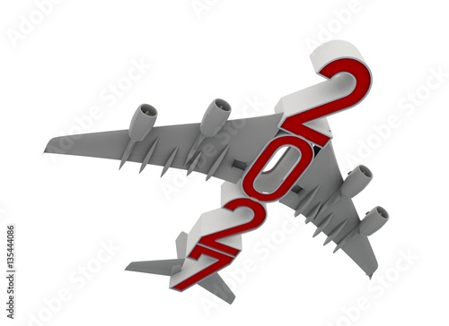 Fotografia  3D illustration of 2030 text with plane wings