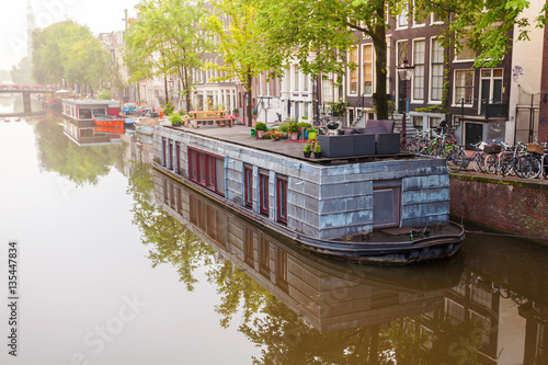 Photo Houses and Boats on Amsterdam Canal