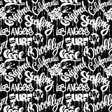 Seamless pattern with hand drawn lettering