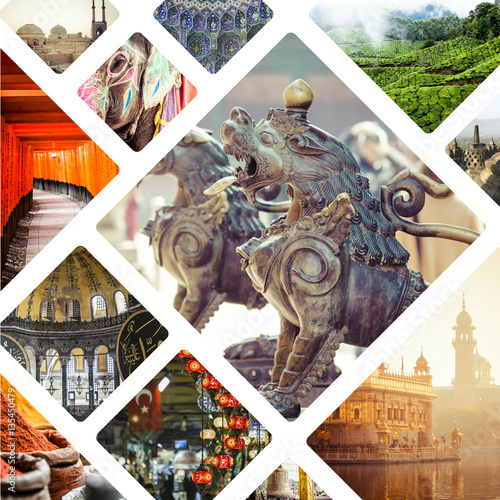 Collage of Most Beautiful and Breathtaking Places in Asia - my p Wall mural