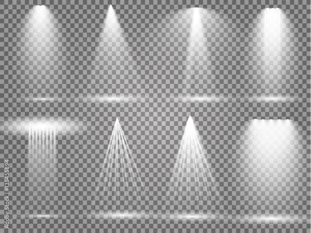 Fototapety, obrazy: Vector light sources, concert lighting, stage spotlights set. Concert spotlight with beam, illuminated spotlights for web design illustration