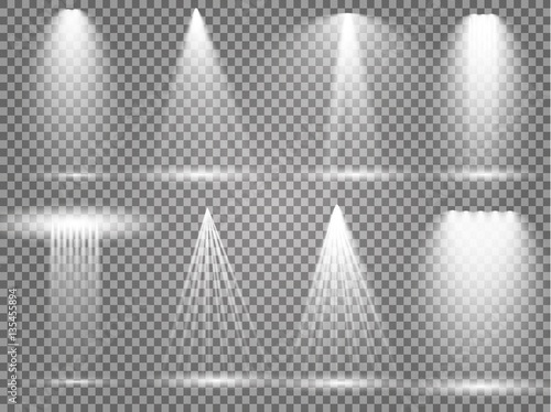 Vector light sources, concert lighting, stage spotlights set. Concert spotlight with beam, illuminated spotlights for web design illustration