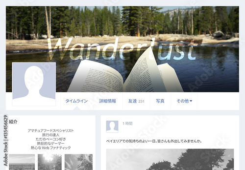 facebook のカバー写真 手順説明付き buy this stock template and