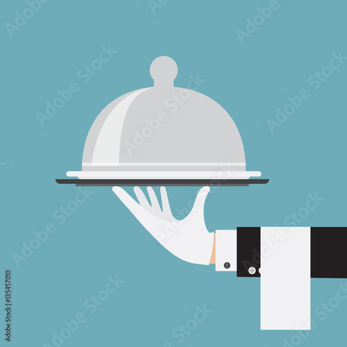 Leinwand Poster butler service waiter hand serving food concept illustration flat vector stock
