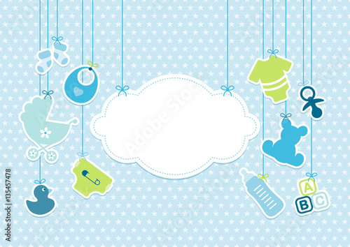Cuadros en Lienzo  Card Baby Boy Symbols Hanging Cloud Stars Blue