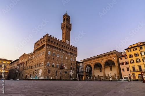 Aluminium Prints Florence Signoria square before sunrise, Florence, Italy