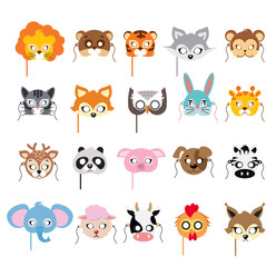 Collection of Different Animal Masks on Faces