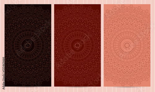 Photo Set of flyers in red, crimson color