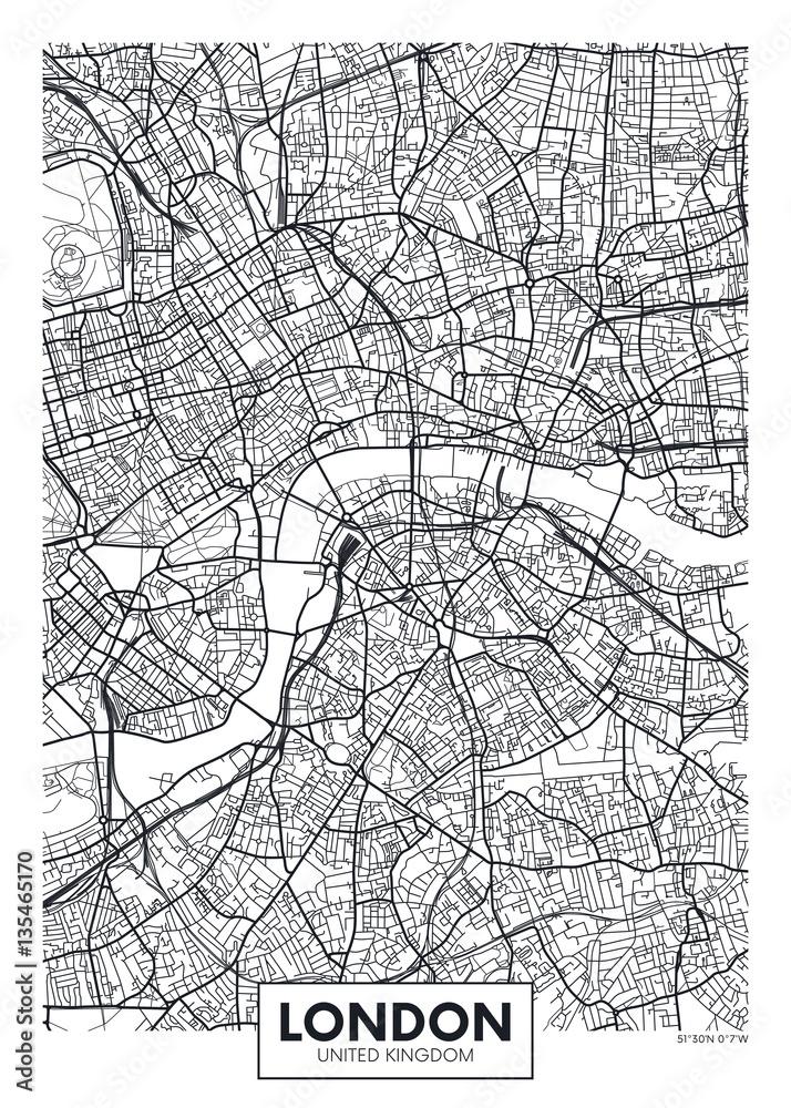 Fototapeta Mapa - Londyn