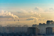 canvas print picture - Cities and industrial smoke clouds the sky