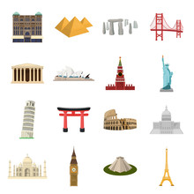 Countries Set Icons In Cartoon Style. Big Collection Of Countries Vector Symbol Stock Illustration