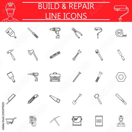 Build Repair Line Pictograms Package Construction Symbols