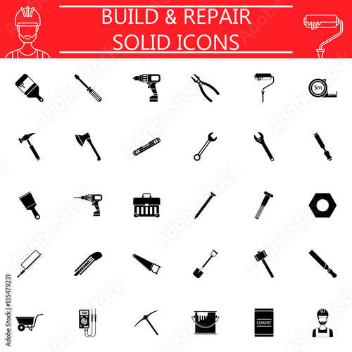 Build & Repair solid pictograms package, construction