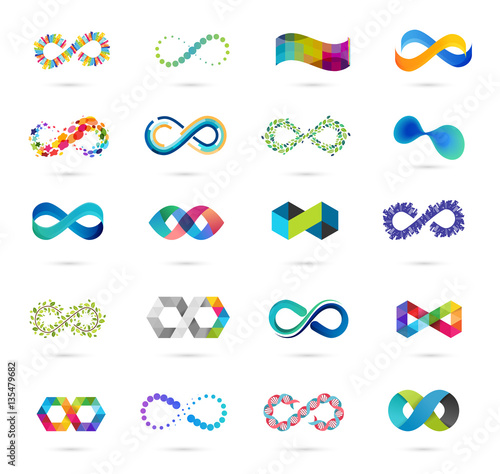 Colorful abstract infinity, endless symbols and icon collection Wallpaper Mural