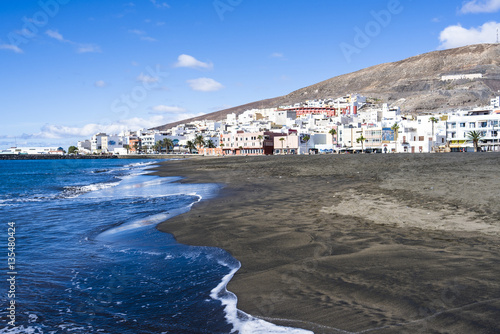 Beach, bay of Gran Tarajal on the Island of Fuerteventura, Canar