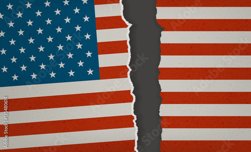 Fotomural American Flag torn apart - Divided we Fall
