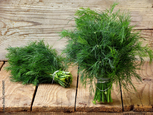 Fotomural bunch of dill on wooden background