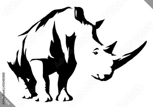 black and white linear paint draw rhino vector illustration Tapéta, Fotótapéta