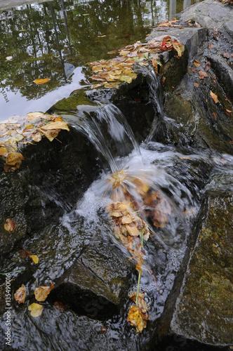 Fotografering  wasser fliesst über steine
