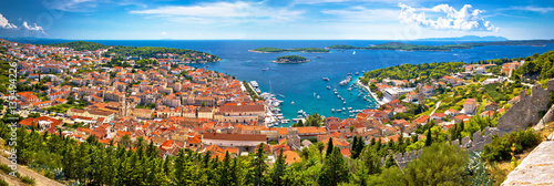 Poster Cote Island of Hvar bay aerial panoramic view