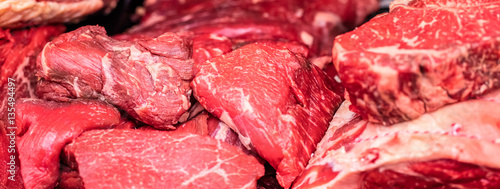 Garden Poster Meat fresh raw meat of beef for steaks at butcher shop
