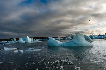 Jökulsárlón is a large glacial lake in southeast Iceland,