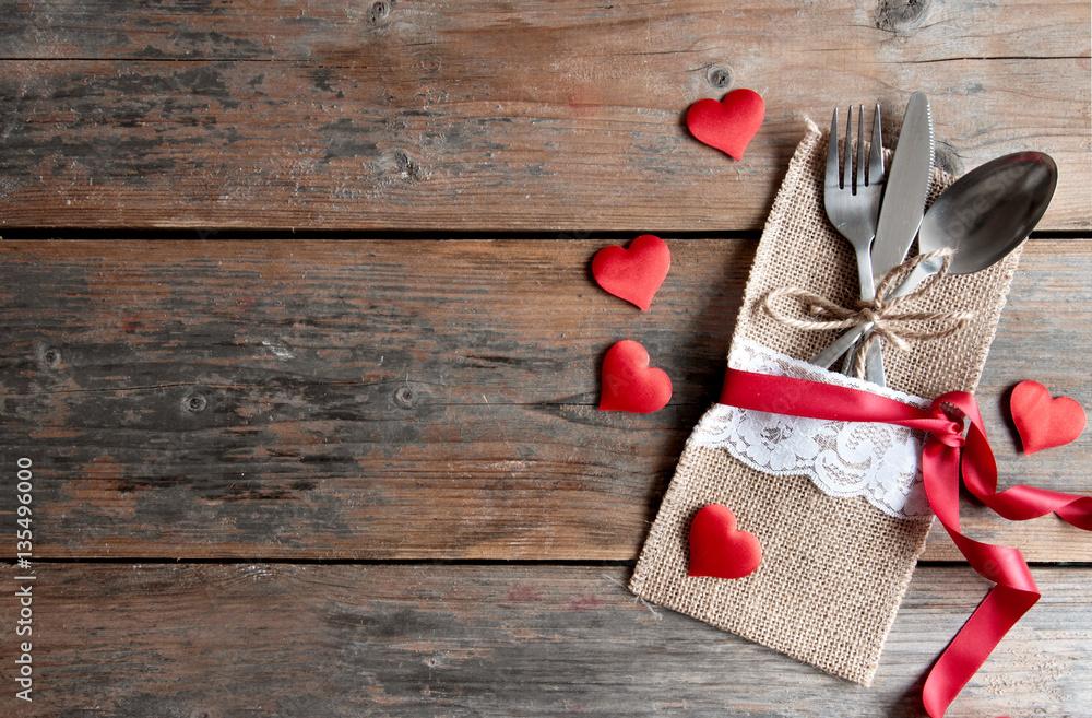 Fototapeta Valentines day romantic dinner background
