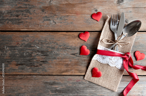 Fototapeta Valentines day romantic dinner background obraz