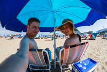 Couple Is Taking Selfie On The Tuscan Beach
