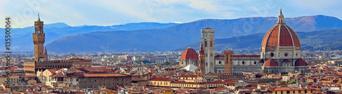Foto auf Gartenposter Florenz view of Florence with Old Palace and Dome of Cathedral from Mich