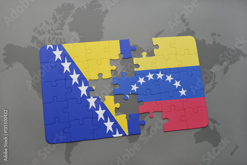 puzzle with the national flag of bosnia and herzegovina and ...