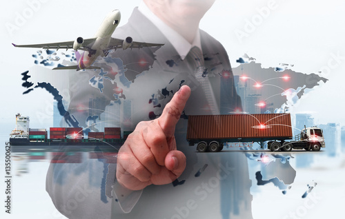 Photo  Business Logistics concept, Global business connection technology interface glob