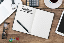Budget Text On Note Pad, Offic...