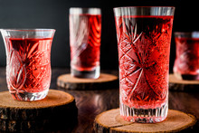Turkish Ottoman Drink Rose Sherbet Or Cranberry Serbet In Crystal Glass