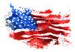 Leinwandbild Motiv Flag of America, hand-drawn watercolor on white background