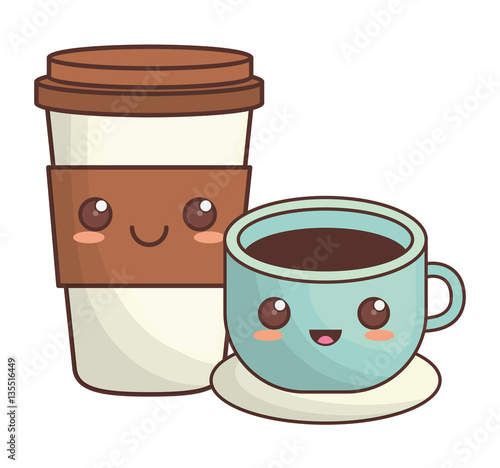 Photo  coffee cup kawaii icon image vector illustration design