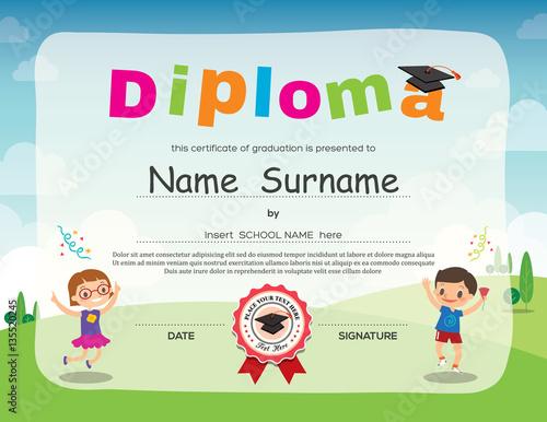 preschool kids diploma certificate background design buy this