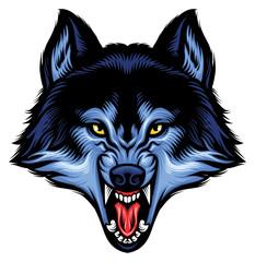 angry wolf head show his sharp teeth