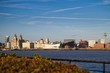 Panorama of Liverpool seen from Wirral - over Mersey river