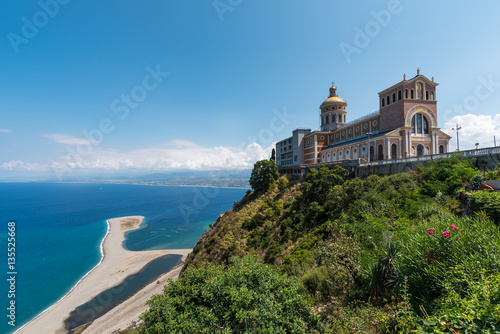 The famous sanctuary and the beach in Tindari, Sicily