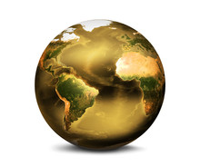 Golden Planet Earth 3d Render....